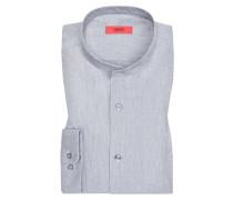 Freizeithemd mit Stehkragen, Relaxed Fit in Grau für Herren