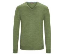 Pullover mit Ärmelpatches, 100% Merinwolle in Gruen für Herren