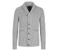 Hochwertiger Kaschmir-Cardigan mit Schalkragen in Grau
