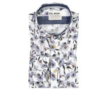 Freizeithemd mit Blumenprint, Shaped Fit in Weiss