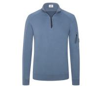 Sweatshirt mit Troyer-Kragen in Blau