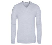 Pullover, V-Ausschnitt mit Patches in Grau für Herren