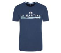 T-Shirt mit Logo-Frontprint, Regular Fit in Marine für Herren