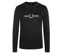 Sweatshirt mit Logo-Stickerei in Schwarz