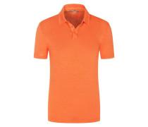 Poloshirt aus Leinen mit Stretchanteil in Orange