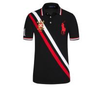 Poloshirt, Custom Slim Fit in Schwarz für Herren