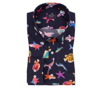 Freizeithemd mit Fisch-Muster in Marine für Herren