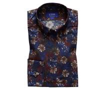 Oberhemd in floralem Print, Contemporary Fit in Blau für Herren