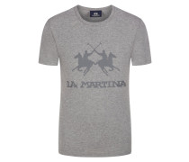 T-Shirt mit Logo-Print in Grau