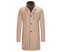 Mantel mit Kaschmiranteil und heraustrennbarer Blende in Beige für Herren