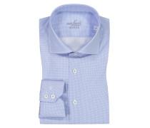 Businesshemd im Minimaldessin, Slim Fit in Blau