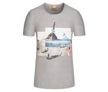 T-Shirt mit Print, Regular Fit in Grau für Herren