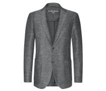 Leichter Jersey-Blazer im Baumwoll-Leinen-Mix in Grau
