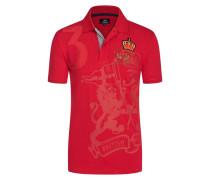 Poloshirt mit Logo-Applikationen in Rot