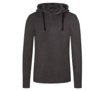 Pullover in Baumwoll-Bouclé, mit Kapuze in Grau
