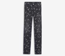 Körperbetonte Jeans mit Eiffelturm-Motiv