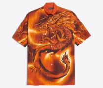 Großes Hemd mit kurzen Ärmeln und Drachen-Print