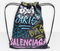 Bazar Tunnelzugtasche mit Graffiti-Print