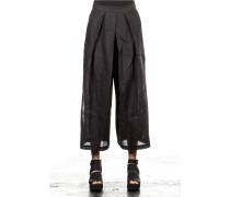 Damen Leinen Hosenrock schwarz