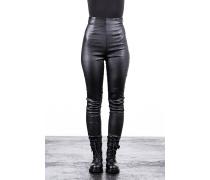Damen High Waist Leder Hose schwarz