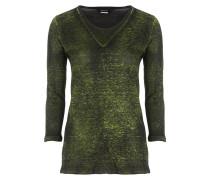 Damen Leinen Shirt 3/4 Arm grün schwarz