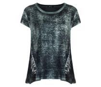 Damen Oversized Shirt mit Spitzeneinsätzen grau
