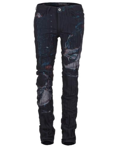 Jeans Crashed Look mit Fish Print blau