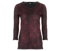 Damen Leinen Shirt 3/4 Arm rot schwarz