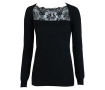 Pullover mit Spitze kurz schwarz