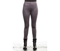 Damen Leggings Velourlederoptik grau