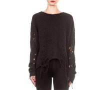 Damen Pullover Oversized kurz schwarz