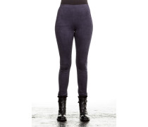 Damen Leggings Velourlederoptik blau