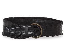 Krokodilleder Gürtel schwarz