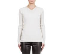 Damen Pullover Ripp V-Neck off white