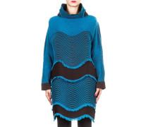 Damen Pullover Plisseestrick türkis braun