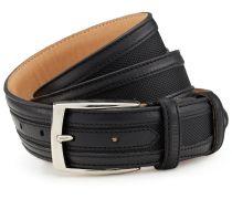 LAGERFELD Ledergürtel mit Stoff-Einsatz - schwarz