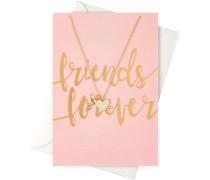 Schmuck Geschenkkarten Karte Friends Forever mit Herz & Schlüssel Halskette