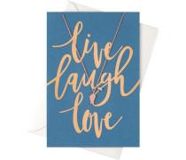 Schmuck Geschenkkarten Karte Live Laugh Love mit Flügel Halskette