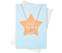 Schmuck Geschenkkarten Karte Best Teacher mit Sternen Halskette