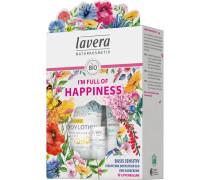 Basis Sensitiv I'm Full Of Happiness Set Straffende Bodylotion Q10 200 ml + Handcreme 75 Lippenbalsam 4;5 g