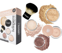 Make-up Sets Glowing Complexion Essentials Kit Loose Mineral Foundation Cinnamon 4 g + Make-Up Base 7 Luminizer 2 Warming Bronzer Kabuki Brush