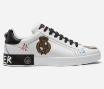 Sneaker Portofino aus Bedrucktem Kalbsleder mit Applikationen