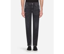 Regular Jeans Dunkelgrau Gewaschen