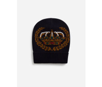 Mütze aus Kaschmir und Wolle mit Intarsienmuster mit Stickerei