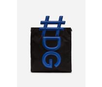 Shopper-Tasche aus Nylon und Kalbsleder