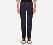 Comfort Fit Jeans mit Stretch in Dunkelblau
