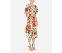 Kurzes Longuette-Kleid AUS Charmeuse Blumen-Print-Mix