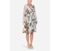 Gekreuztes Midi-Kleid AUS Chiffon MIT Tropischem Rosendruck