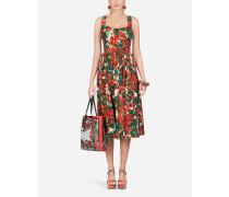 Longuette-Kleid aus Popeline mit Portofino-Print