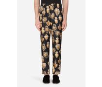Pyjamahose aus Seide mit Print DES Heiligen Herzens